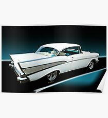 57 Chevy Bel-Air Hardtop in Silver and White Poster