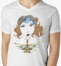 Fantasy Art Deco Style Goddess Men's V-Neck T-Shirt