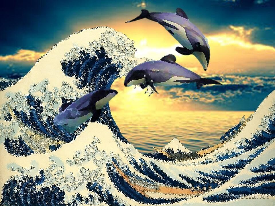 Great Wave Sunset with Endangered Maui Dolphin\