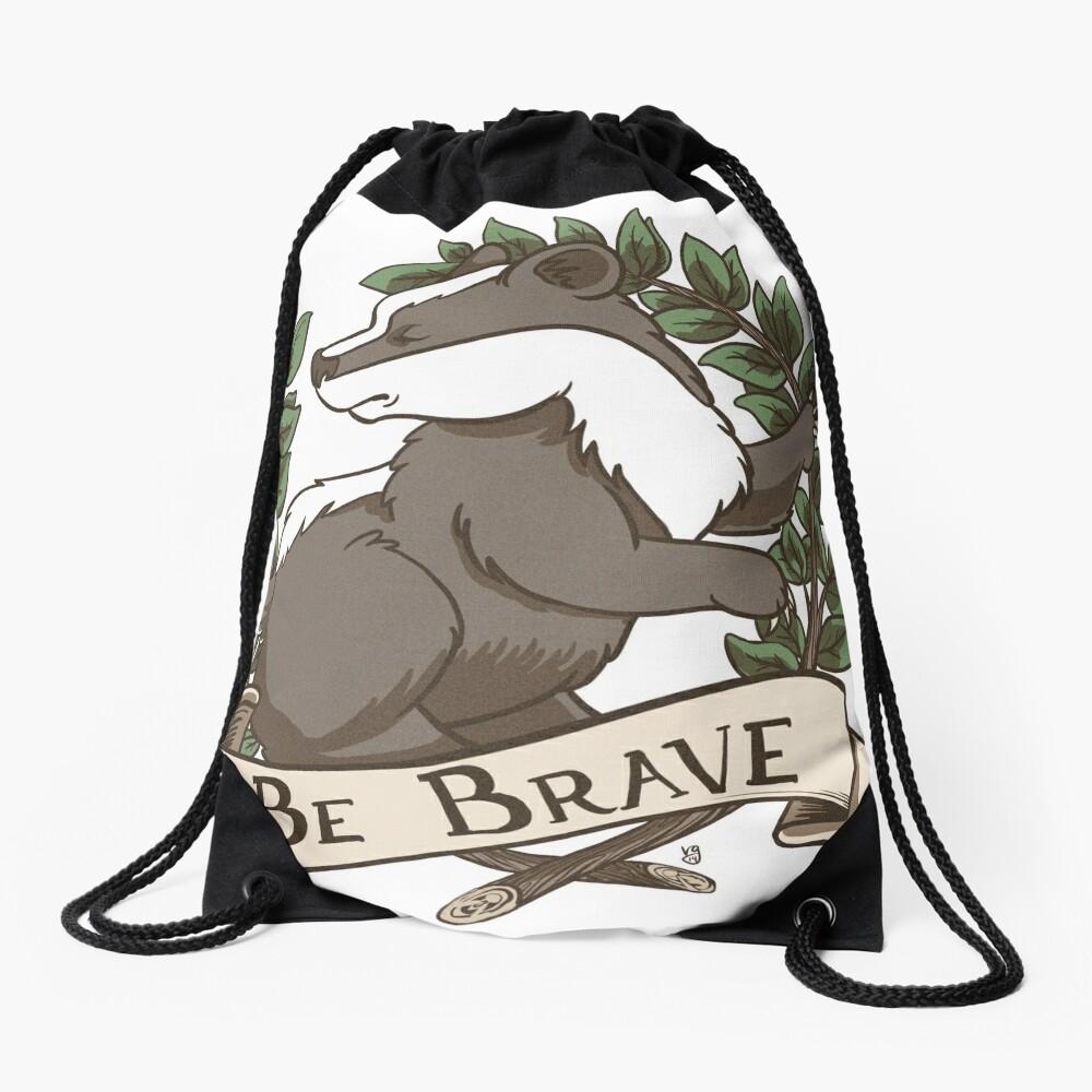 Be Brave Badger Crest Drawstring Bag