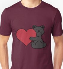 Valentine's Day Black Bear with Red Heart T-Shirt