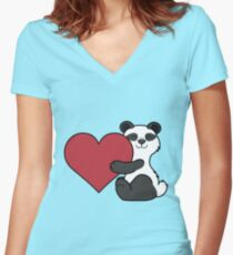 Valentine's Day Panda Bear with Red Heart Women's Fitted V-Neck T-Shirt