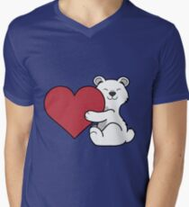Valentine's Day Polar Bear with Red Heart T-Shirt