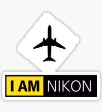 I AM NIKON Airplane Parody Logo Sticker