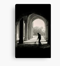 One Man Sweeps Canvas Print