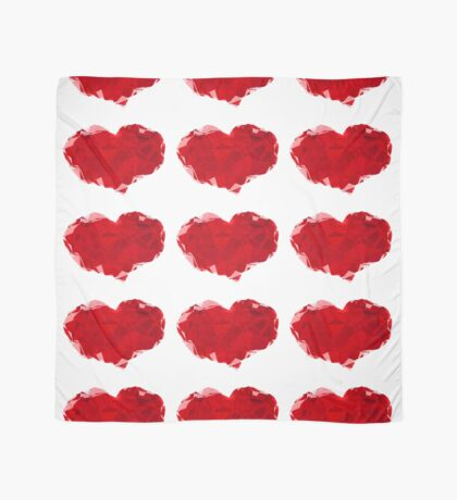 Red Pink Heart Abstract Polygon Art Scarf