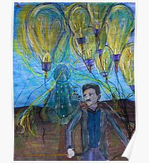Nikola Tesla Freeing the light bulb balloons Poster