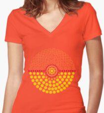 Flareon Pokeball Women's Fitted V-Neck T-Shirt