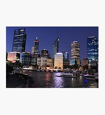 Elizabeth Quay, Perth Western Australia, Night city Photographic Print