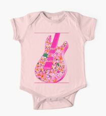 Guitar of Pink Flowers One Piece - Short Sleeve