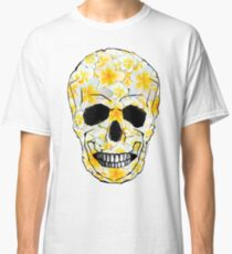 Skull Frangipani Flowers Yellow and White Classic T-Shirt