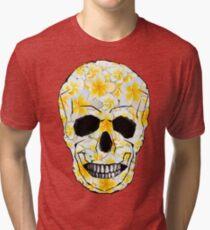 Skull Frangipani Flowers Yellow and White Tri-blend T-Shirt
