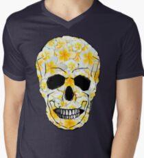 Skull Frangipani Flowers Yellow and White T-Shirt