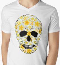 Skull Frangipani Flowers Yellow and White Men's V-Neck T-Shirt