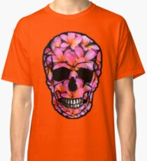 Skull with Pink Frangipani Flowers Classic T-Shirt
