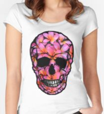 Skull with Pink Frangipani Flowers Women's Fitted Scoop T-Shirt