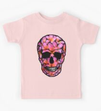 Skull with Pink Frangipani Flowers Kids Tee