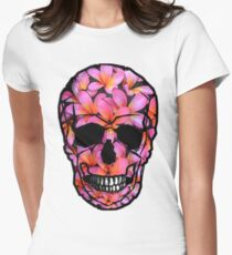 Skull with Pink Frangipani Flowers T-Shirt