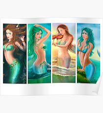 Beautiful Woman mermaids collage.  Poster