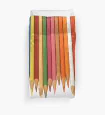 Coloured Pencils Isolated On White Duvet Cover
