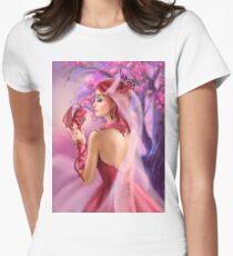 Beautiful fantasy woman queen and red dragon sakura background T-Shirt