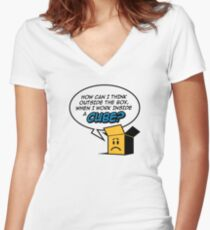 I work in a cube Women's Fitted V-Neck T-Shirt