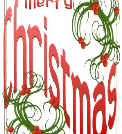 Merry Christmas With Stylized Holly With White Background Sticker