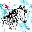 Abstract Ink - Black Arab Horse by Michelle Wrighton