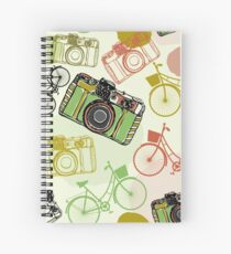Vintage camera and bicycles Spiral Notebook