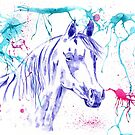 Abstract Ink - Purple Arabian Horse by Michelle Wrighton