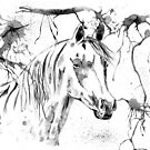 Abstract Ink - Black And White Arabian Horse by Michelle Wrighton