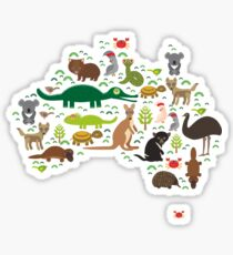 Australian animal map  Sticker