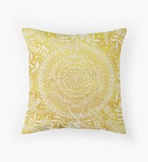 Medallion Pattern in Mustard and Cream Throw Pillow