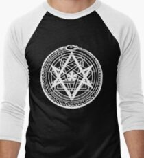 Thelemic Babalon Ouroboros with Nietzsche quote and Enochian script Men's Baseball ¾ T-Shirt
