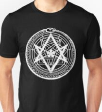 Thelemic Babalon Ouroboros with Nietzsche quote and Enochian script T-Shirt