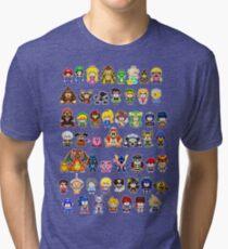 Super Smash Bros Wii U - Pixel Art Characters Tri-blend T-Shirt