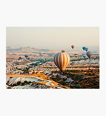 Flying hot air balloon over the Cappadocia Photographic Print