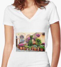 Canines in Love, EPCOT's Flower and Garden Festival Women's Fitted V-Neck T-Shirt
