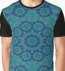 Jade , Aqua and Turquoise Symmetrical Pattern Graphic T-Shirt