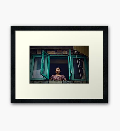 Up in the Window Framed Print