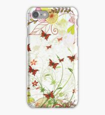 Colorful pink green flowers butterfly floral pattern  iPhone Case/Skin