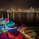 Chicago Skyline with rainbow ribbon of light  by Sven Brogren