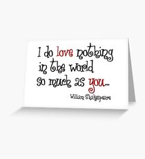 Love letter from William Shakespeare Greeting Card