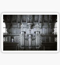Beautiful organ view inside baroque church, Alsace, France Sticker
