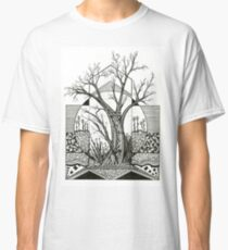 Spring Cherry Blossom, Ink Tree Drawing Classic T-Shirt