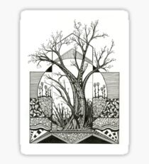 Spring Cherry Blossom, Ink Tree Drawing Sticker