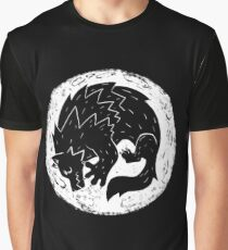 Woodcut Werewolf - White Moon Graphic T-Shirt