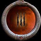Saurimonde's Ouroboros and Red Moon with Claw Marks  by edendarkly
