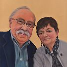 Pastel Portrait of a Smiling Couple by Pam Humbargar