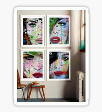 4 mixed media prints in a room Sticker